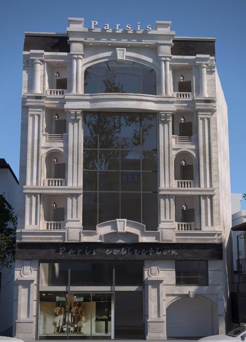 نمای فریم لس ساختمان با اب بندی